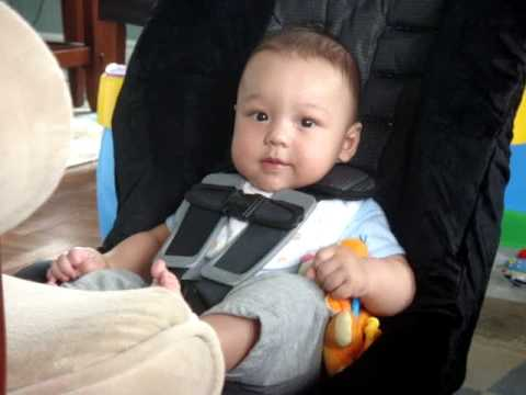 5 Months Old Jakob Sitting On His New Car Seat