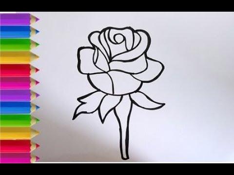 Cara Menggambar Dan Mewarnai Bunga Mawar Youtube