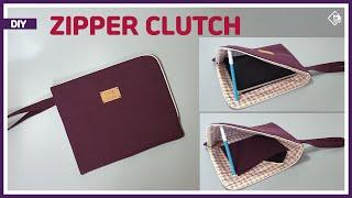 DIY/ ZIPPERED CLUTCH BAG/ TABL…
