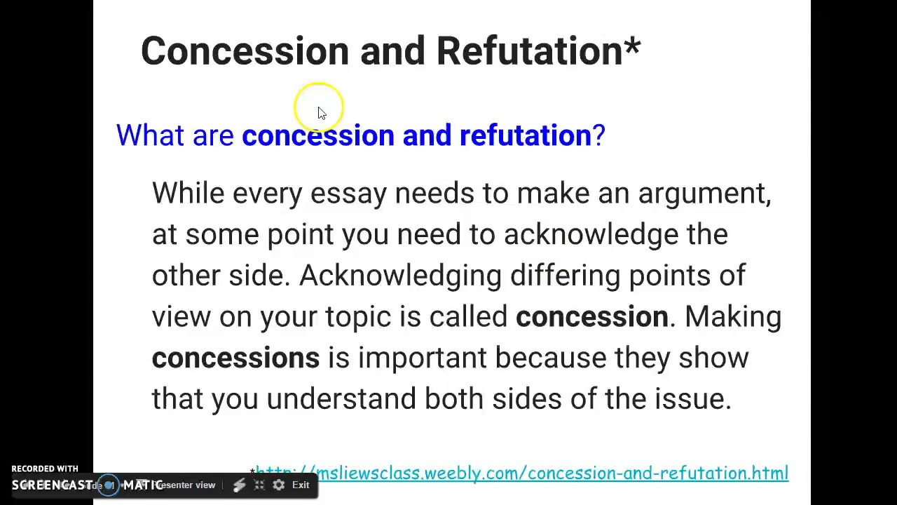 concession in an argumentative essay Starr is making an argument that medicine in concession /qualification there are many different types of evidence that you can use in writing a persuasive or.