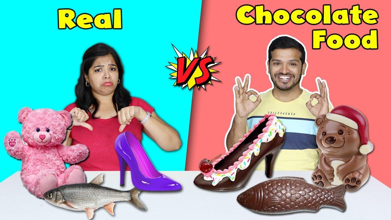 Real Vs Chocolate Food Eating Challenge Hungry Birds Youtube