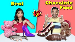 Real Vs Chocolate Food Eating Challenge | Hungry Birds