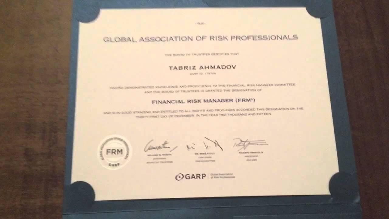 frm certificate