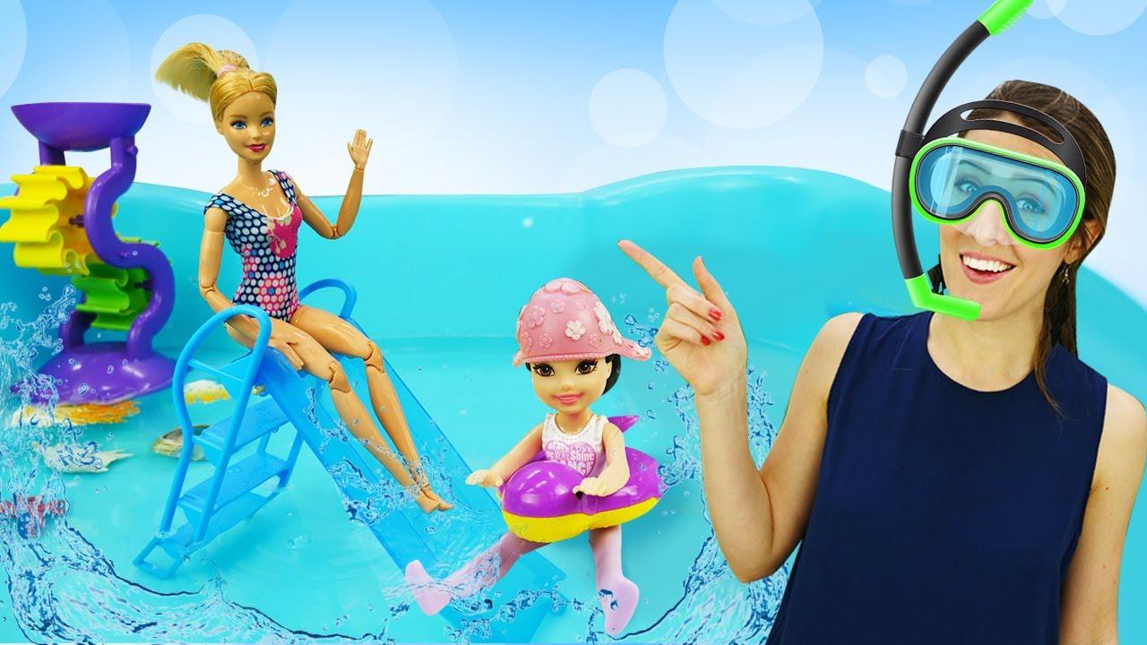 ¡Barbie y Kate van a la piscina! Muñecas Barbie en español. Videos para niñas en español