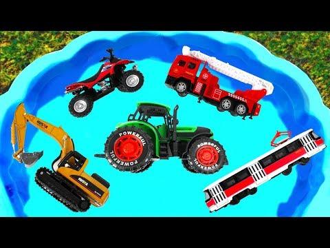 Camión de Construcción para niños & Excavadora Tractor Camión de bomberos Quad, Learn Characters