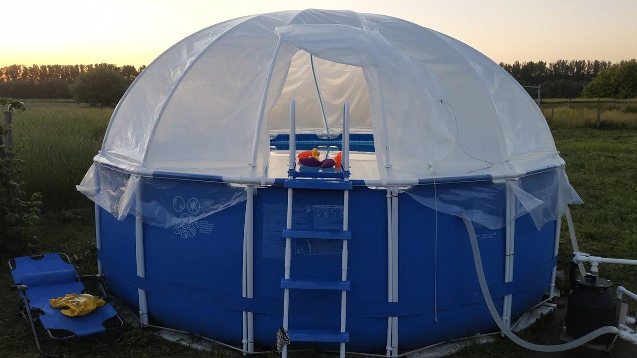 Как сделать купол,крышку на уличный  бассейн/крытый уличный бассейн своими руками/ Pool cover
