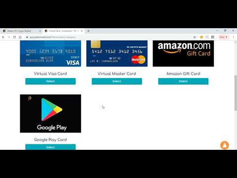 Buy Virtual Visa Card, Master Card, Amazon Gift Card,  And Many More On PC Crypto Market