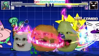 SpongeBob Characters VS The Ghost And My Little Pony Characters And Annoying Orange In A MUGEN Match