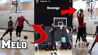 Carmelo Anthony SCRIMMAGING WITH LAKERS! LEBRON JAMES JUMP SHOT IMPROVED!
