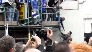 Fat CFC fan FAIL to climb scaffolding at beginning of clip lol