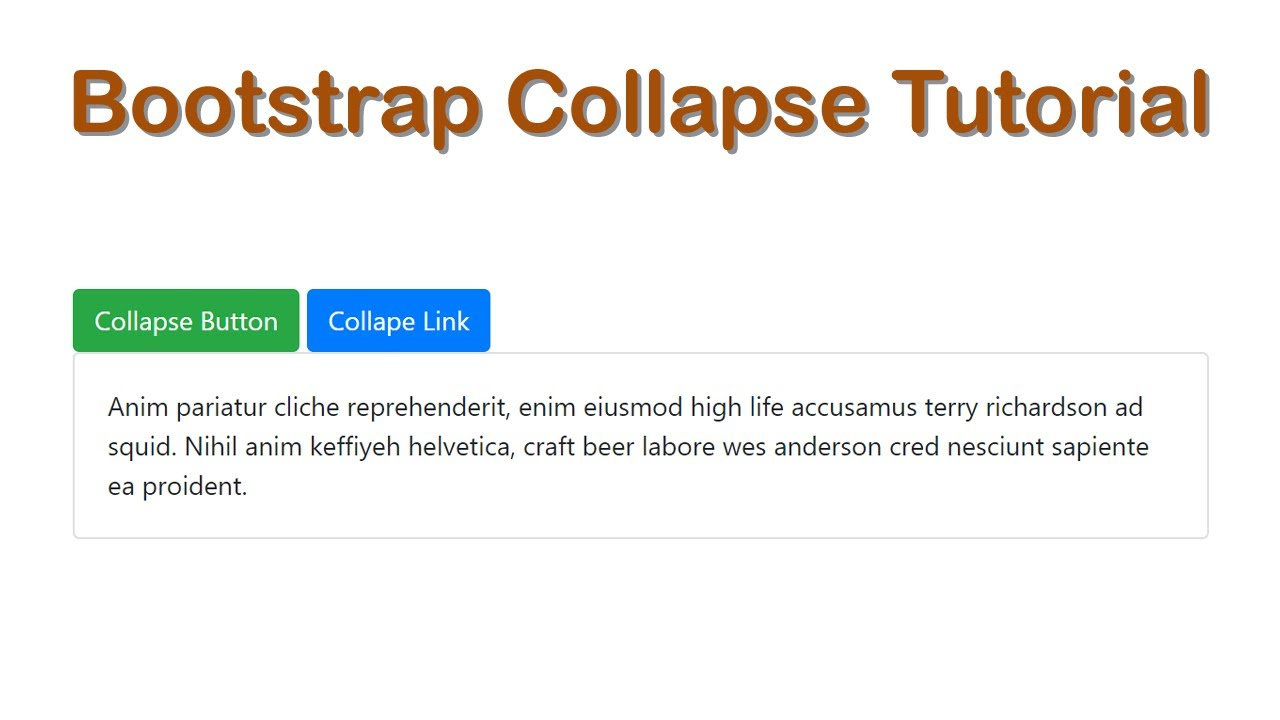 Bootstrap Collapse Tutorial   Using Bootstrap Framework