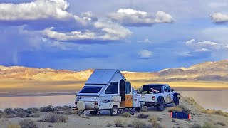 FREE CAMPING the Neטada Desert in a Jeep Gladiator & Aliner Pop Up Camper Trailer
