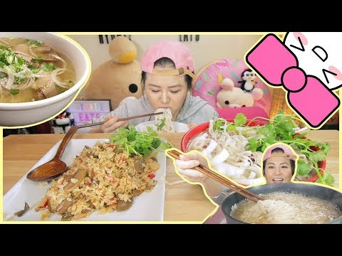 HOMEMADE PHO NOODLES ft. FRIED RICE | MUKBANG [먹방] | CONFESSIONS