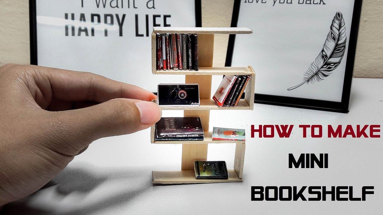 Miniature - How To Make Miniature Books Shelves Using Popsicle Stick