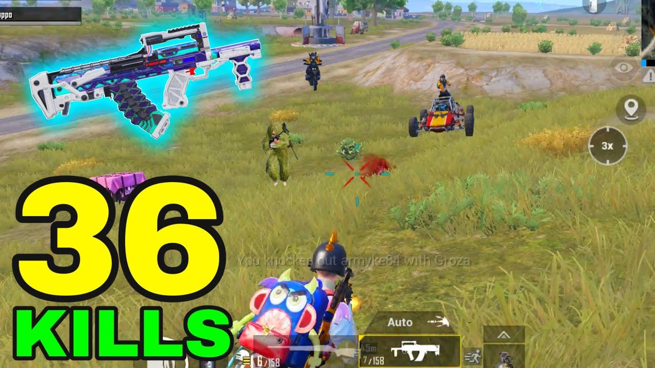 SUPER POWER of NEW GROZA!!!   36 KILLS vs SQUADS   PUBG MOBILE