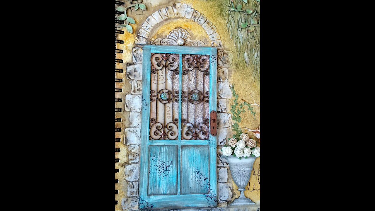 Mixed Media Journal Cover Tutorial Tuscan Wall Youtube