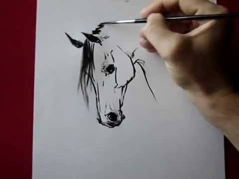 how to draw a horse head ink by tora youtube