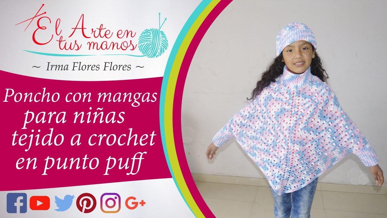 Poncho Con Mangas Y Tejido A Crochet Con El Punto Puff Calado Fácil De Tejer Paso A Paso Youtube