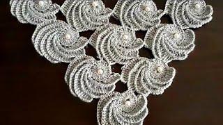 tığ işi Incili midye şal modeli nasıl yapılır / şal modelleri