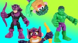 Marvel Playskool Adventures Hulk & Hawkeye  Turn into Mashable Potato Head Superheroes!