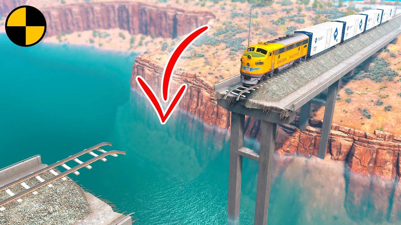 Download Trains vs Broken Bridge 😱 BeamNG.Drive