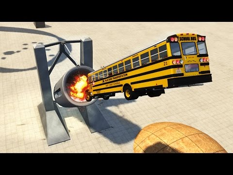 SCHOOL BUS CANNON! Launching, Crash Testing, & Destroying School Bus! (BeamNG Drive Gameplay)