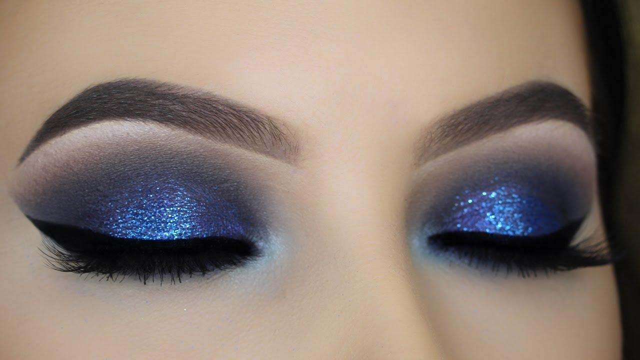blue glitter smokey eye tutorial - youtube