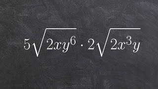 Multiplying two radical expreṡsions together by multiplying first and then simplifying