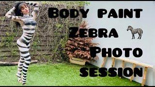 Body Paint Zebra  Photo Modeling