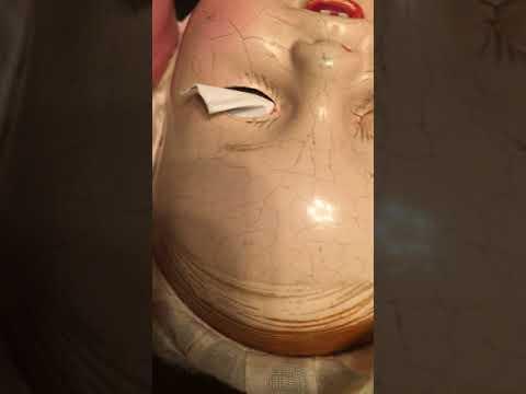 SwankyKitty composition Doll Restoration Repair - eye prep before paint.