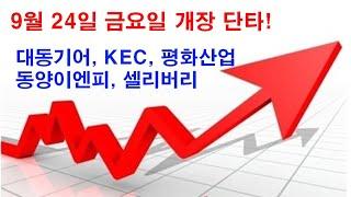 대동기어, KEC, 평화산업, 동양이엔피, 셀리버리 종목으로 9월 24일 금요일 시장에서도 수익신화를 이어가자! 상승에너지가 강한 갭상승 종목입니다.