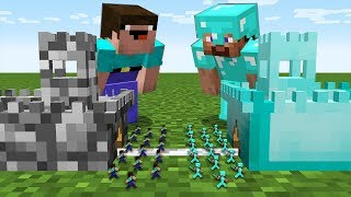 Minecraft battle inside block Noob castle vs Pro castle
