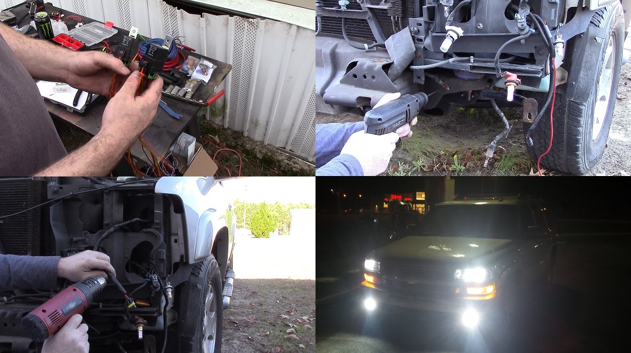 Wiring Hid Low Beams And Fog Lights In My 04 Tahoe And Auto Fog Lights Youtube