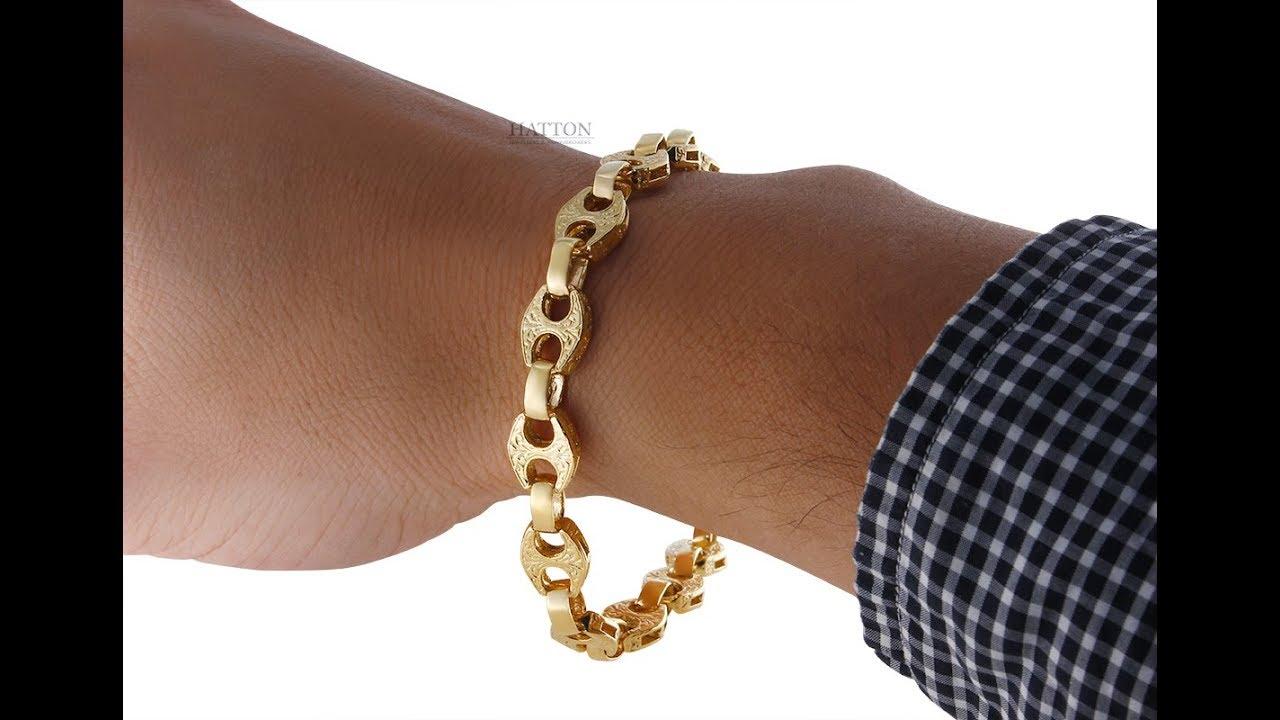 9k 14k 18k Gold Textured Mariner Gucci Link Bracelet 10mm 9 5