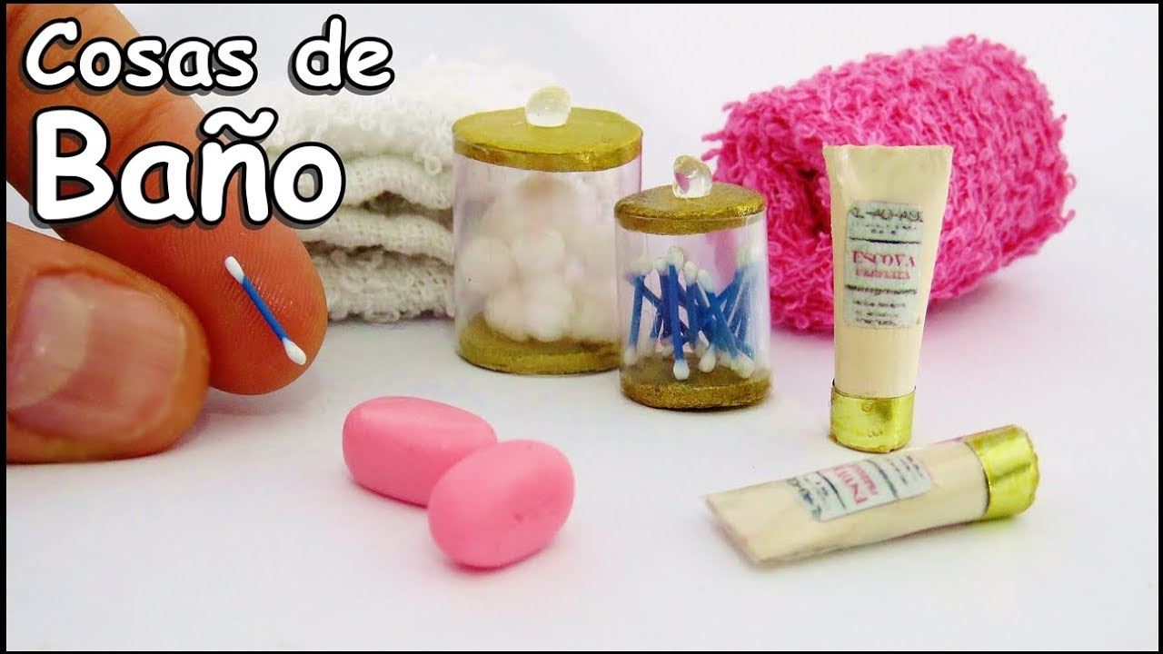 Cosas De Baño Para Muñecas Barbie Bastoncillos Jabon Shampoo Como Hacer  Miniaturas Manualidades