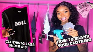 HOW TO PUT YOUR BRAND ON CLOTHING ! | DIY CLOTHING  HANG TAGS UNDER $10 BEGINNER FRIENDLY