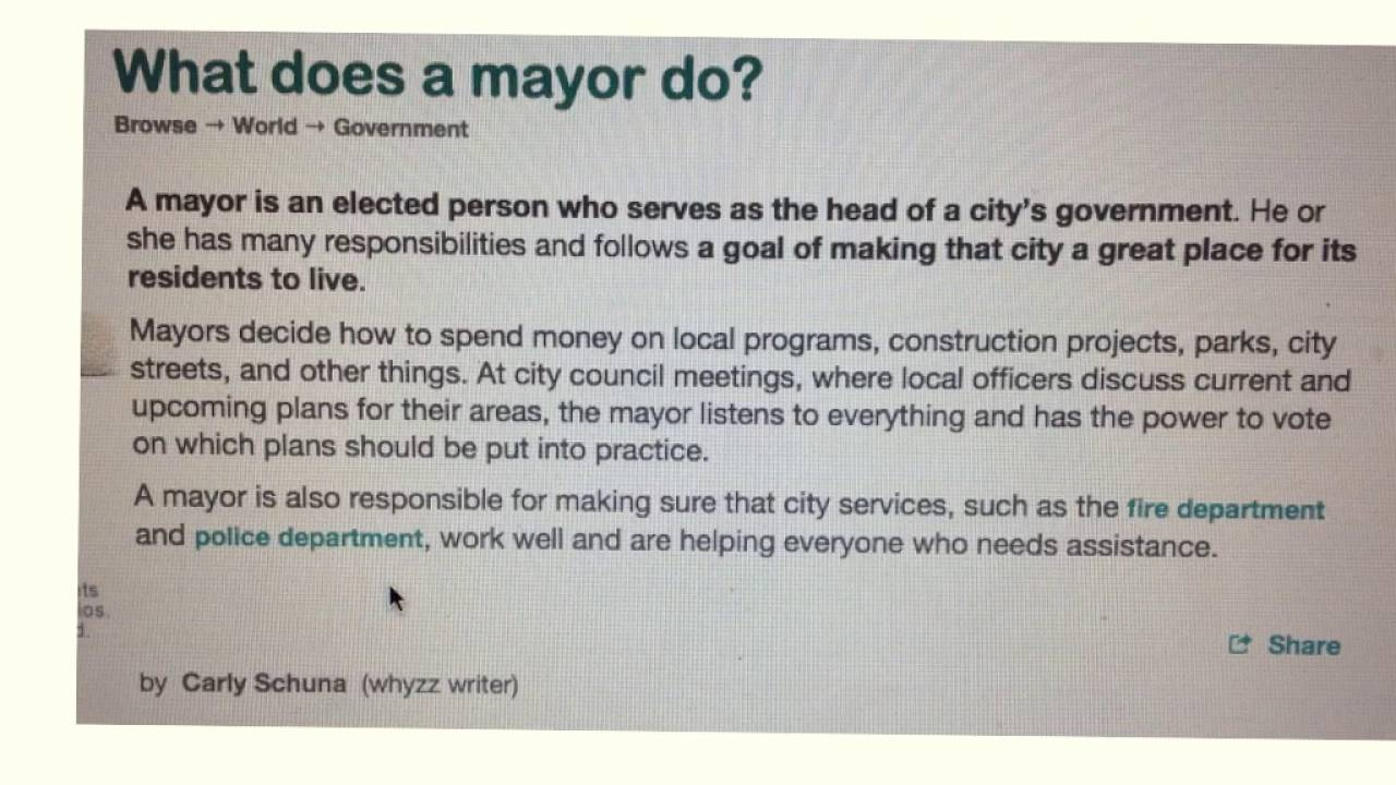 What Does A Mayor Do