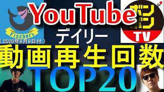 【 YouTube動画再生回数 】デイリーランキングTOP20 【 2020.8.9 】
