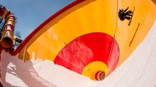 Snowboarding An Empty Water Park | Snowmusement
