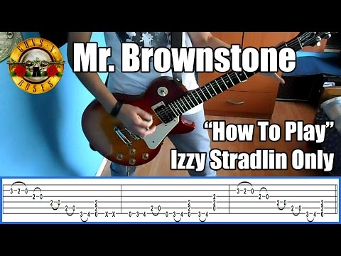 Guns N' Roses Mr Brownstone IZZY STRADLIN ONLY with tabs | Rhythm guitar