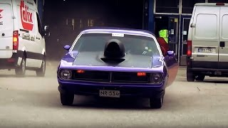 Muscle cars and bikes leaving American car show 2015!