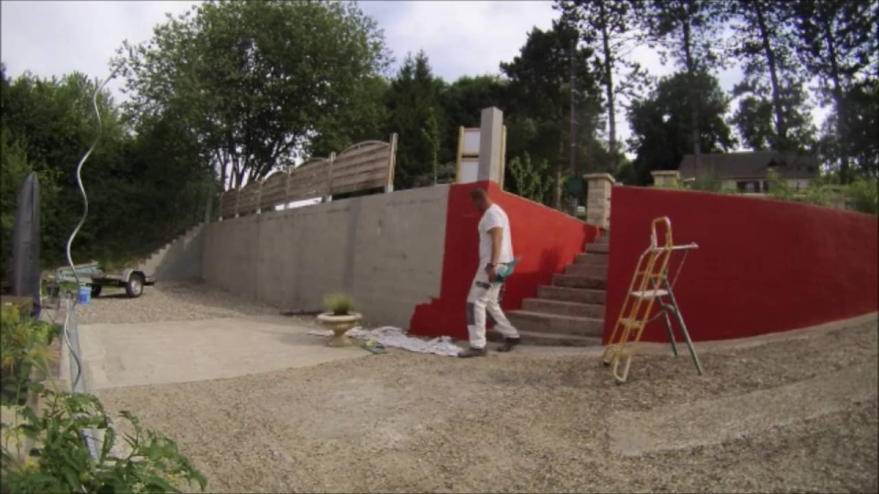 time laps mise en peinture d 39 un mur ext rieur youtube. Black Bedroom Furniture Sets. Home Design Ideas