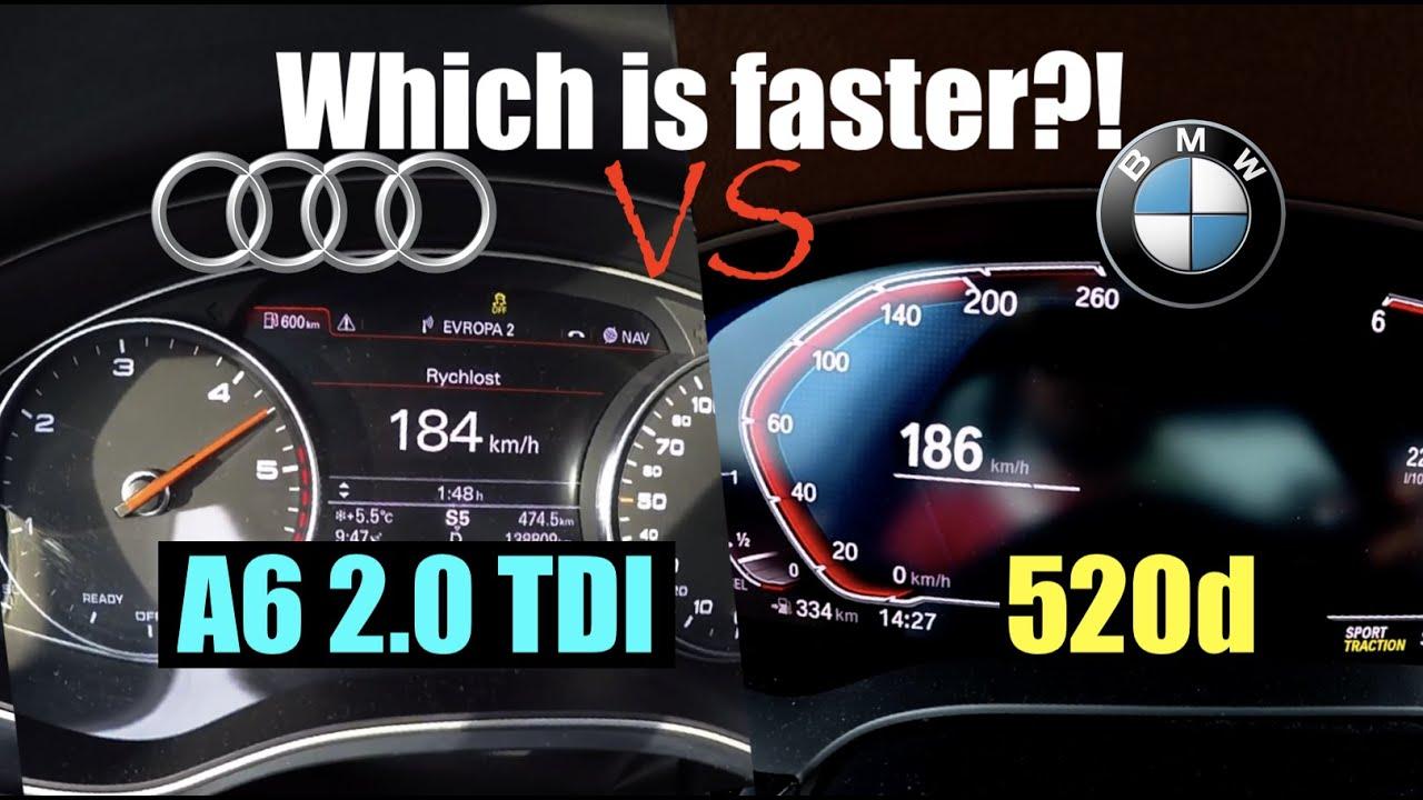 Acceleration Battle | AUDI vs BMW | 2018 Audi A6 2.0 TDI vs 2019 BMW 520d xDrive | 140 kW vs 140 kW