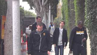 Warriors Arriving Back To LA Hotel After Shootaround -- iFolloSports.com