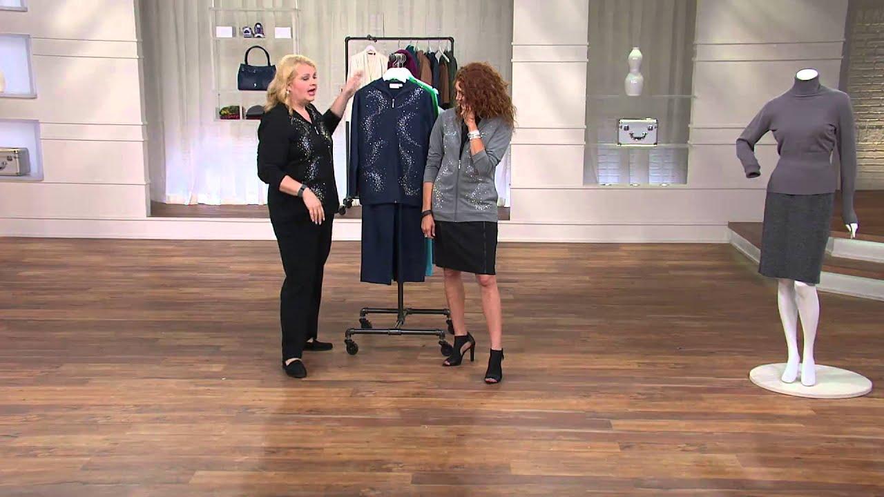 Quacker Factory Rhinestone Swirl Jacket and Pants Set with Albany Irvin