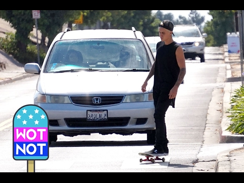 Justin Bieber Skateboards Through Santa Monica Airport