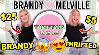 BRANDY MELVILLE HAUL VS THRIFT HAUL   THRIFT SHOPPING FOR BRANDY MELVILLE OUTFITS   THRIFTMAS DAY 23