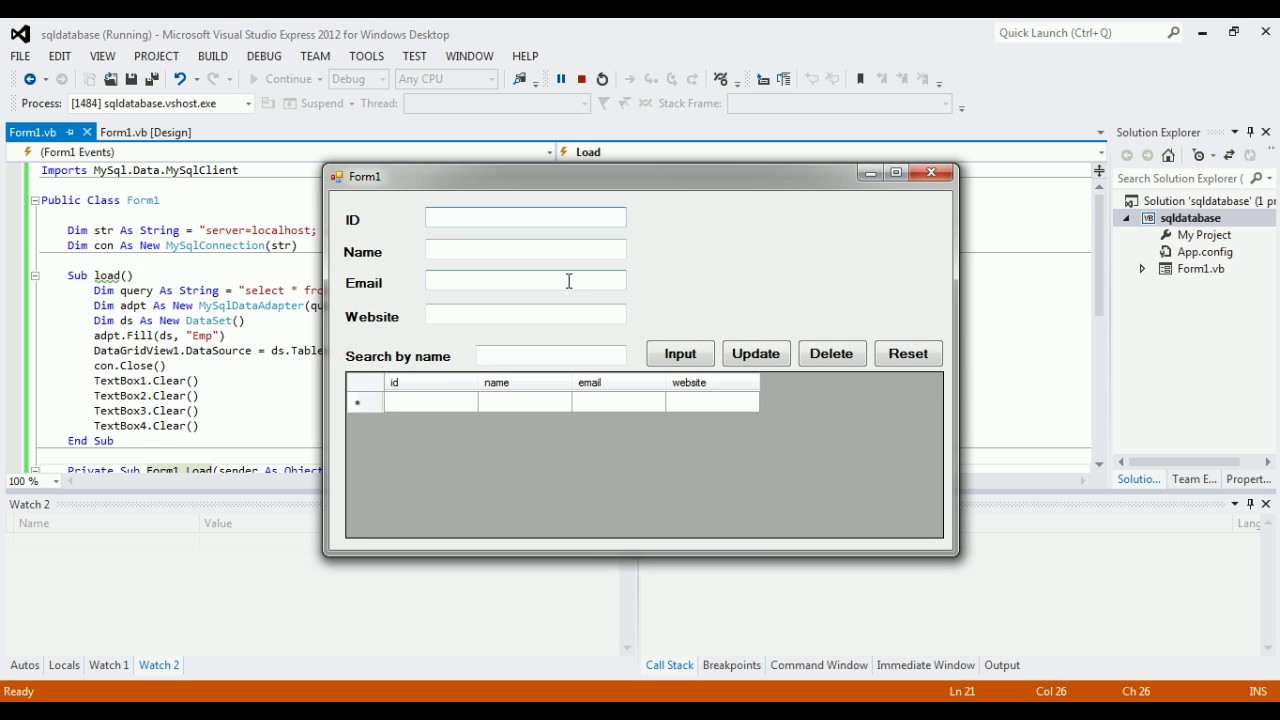 VB NET and SQL (XAMPP) | insert, update, delete, search [CRUD]