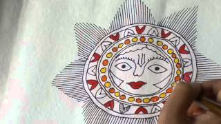 Lesson 12 : (हिन्दी) Draw a sun sketch in Madhubani painting - Part 2