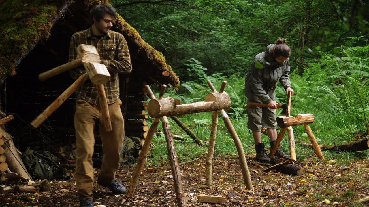 Setting up for the Big Bushcraft Build - Sawhorse making, Tool Sharpening & Maintenance